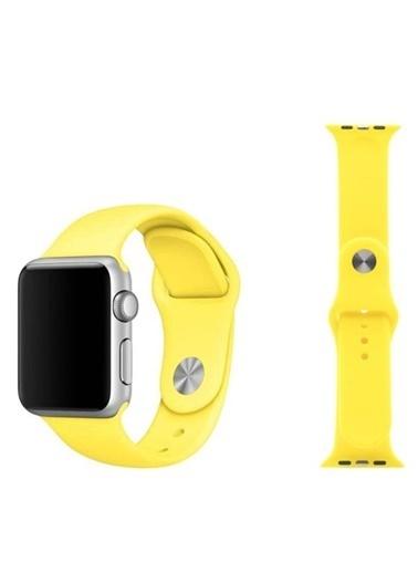 Apple Apple Watch Sport Band Sarı Silikon Saat Kordonu 38-40 Mm Renkli